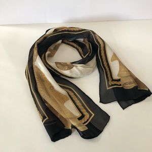 Gold/black and cream sheer scarf